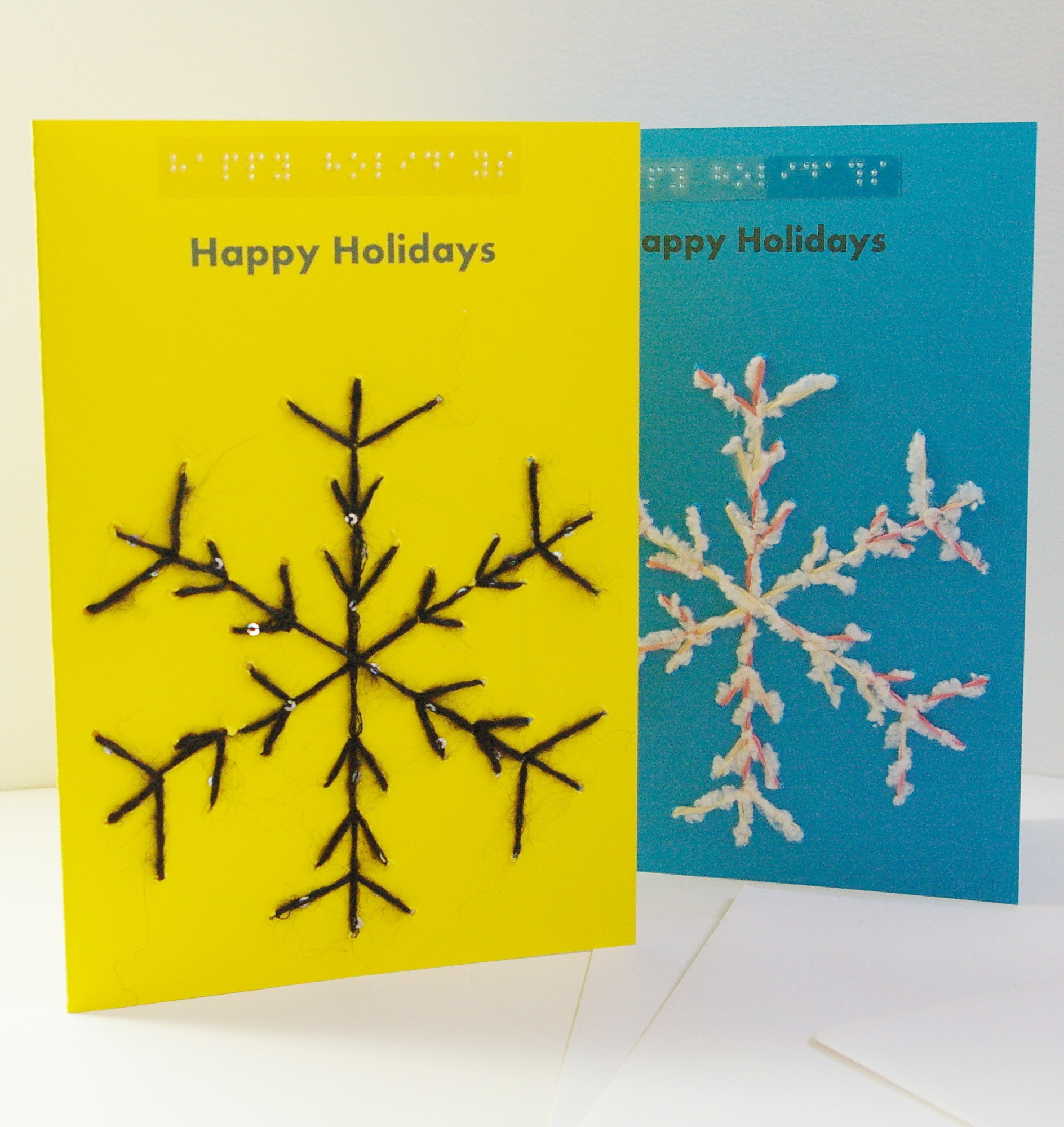 Happy holiday snowflake greetings card arts coaching training portrait style yellow and blue snowflake happy holiday cards kristyandbryce Choice Image