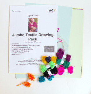 contents display of drawing pack, different coloured spools of yarn, needle, coloured textured paper